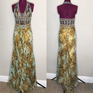 Turquoise and Camel Evening Gown